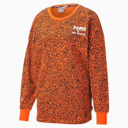 PUMA x MR DOODLE Printed Women's Crew Neck Sweater, Dragon Fire-AOP, small