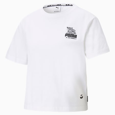 PUMA x MR DOODLE Women's Cropped T-Shirt, Puma White, small-IND