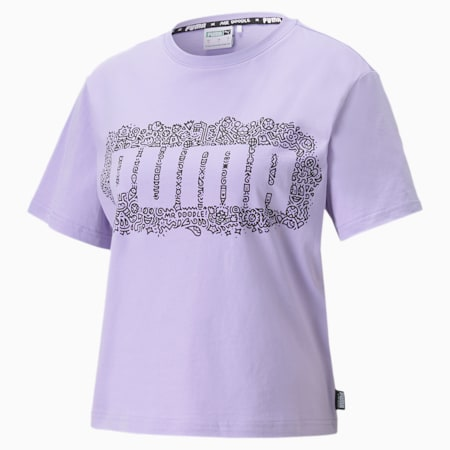PUMA x MR DOODLE Women's Cropped Tee, Purple Rose, small