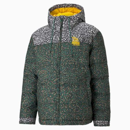 PUMA x MR DOODLE Men's Puffer Jacket, Covert Green-AOP, small