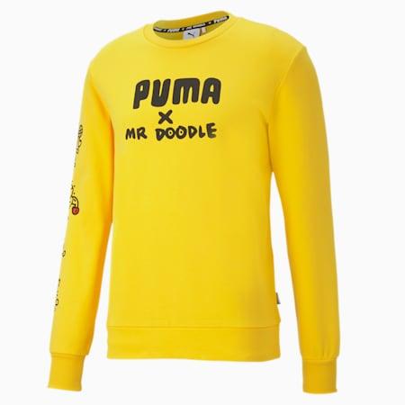 PUMA x MR DOODLE Crew Neck Men's Sweater, Lemon Chrome, small