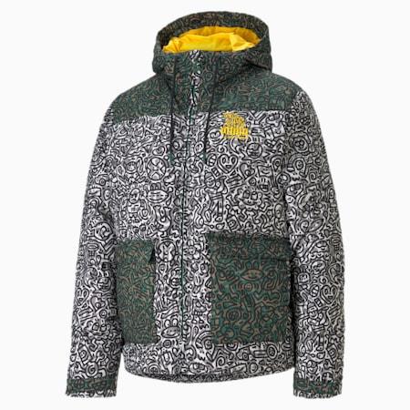 PUMA x MR DOODLE Women's Puffer Jacket, Covert Green-AOP, small
