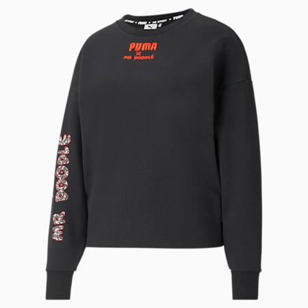PUMA x MR DOODLE Crew Neck Damen Sweatshirt, Puma Black, small
