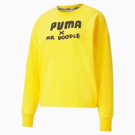 PUMA x MR DOODLE Crew Neck Damen Sweatshirt, Lemon Chrome, small