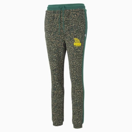 PUMA x MR DOODLE Printed Women's Sweatpants, Covert Green-AOP, small