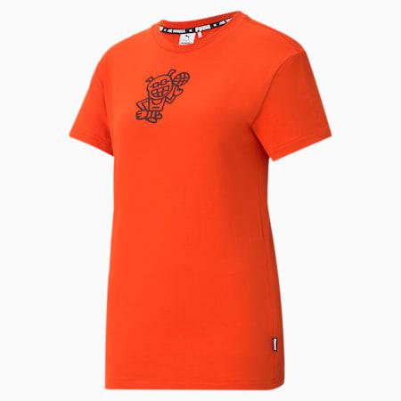 PUMA x MR DOODLE Damen T-Shirt, Poinciana, small