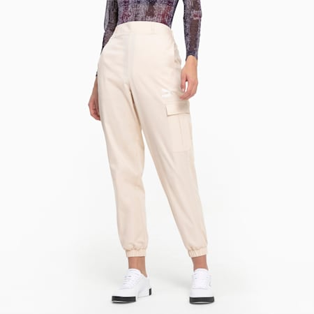 High Waist Utility Women's Pants, Tapioca, small