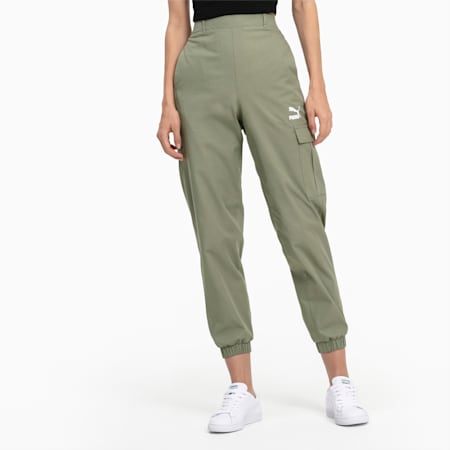 High Waist Utility Damen Hose, Oil Green, small