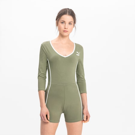 Long Sleeve Women's Unitard, Oil Green, small