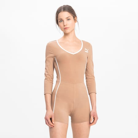 Long Sleeve Women's Unitard, Chanterelle, small