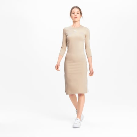 Long Sleeve Women's Midi Dress, Tapioca, small