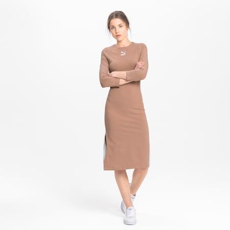 Long Sleeve Women's Midi Dress, Chanterelle, small