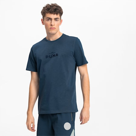 T-Shirt Pull Up Basketball pour homme, Dark Denim, small