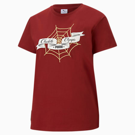 PUMA x CHARLOTTE OLYMPIA loose-fit T-shirt voor dames, Red Dahlia, small