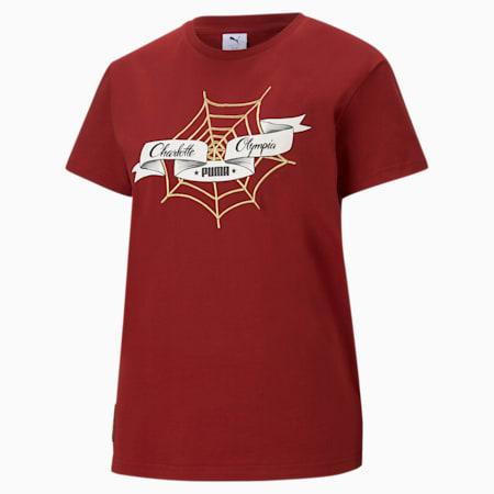T-Shirt décontracté PUMA x CHARLOTTE OLYMPIA pour femme, Red Dahlia, small
