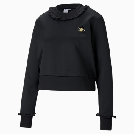 PUMA x CHARLOTTE OLYMPIA Women's Cropped Crewneck Sweatshirt, Puma Black, small