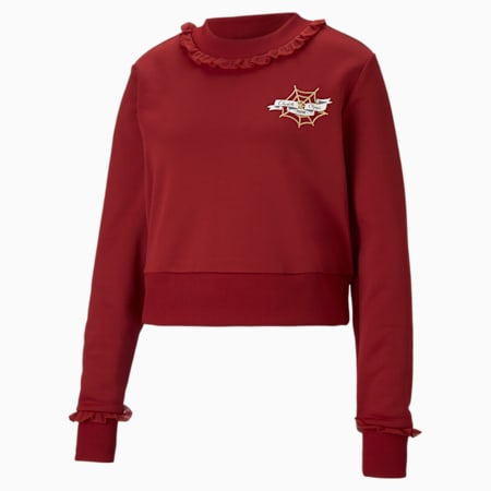 Sweat PUMA x CHARLOTTE OLYMPIA court pour femme, Red Dahlia, small