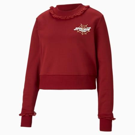 PUMA x CHARLOTTE OLYMPIA Women's Cropped Crewneck Sweatshirt, Red Dahlia, small