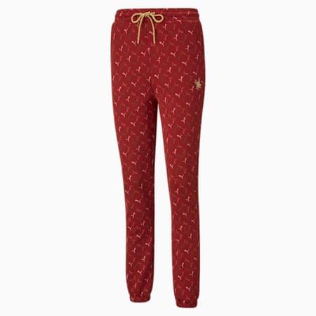 Pantalon en sweat PUMA x CHARLOTTE OLYMPIA avec impression allover pour femme, Red Dahlia-AOP, small