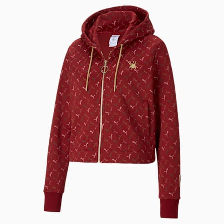 PUMA x CHARLOTTE OLYMPIA Women's Cropped Full Zip Hoodie, Red Dahlia-AOP, small