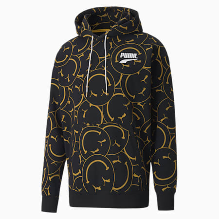 Club Printed Relaxed Fit Hoodie, Puma Black, small-IND