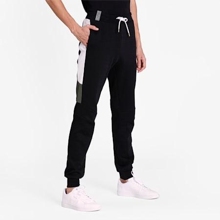 Virat Kohli Mens Track Pants, Puma Black-Puma White-Thyme, small-IND