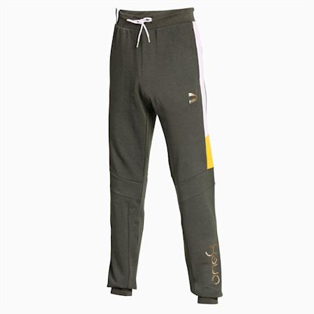 Virat Kohli Mens Track Pants, Thyme-Puma White-Super Lemon, small-IND