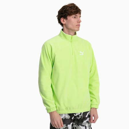 Polar Fleece Half Zip Men's Sweater, Sharp Green, small