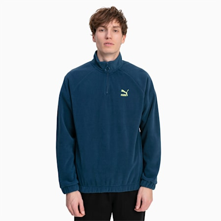 Polar Fleece Half Zip Men's Sweater, Blue Wing Teal, small