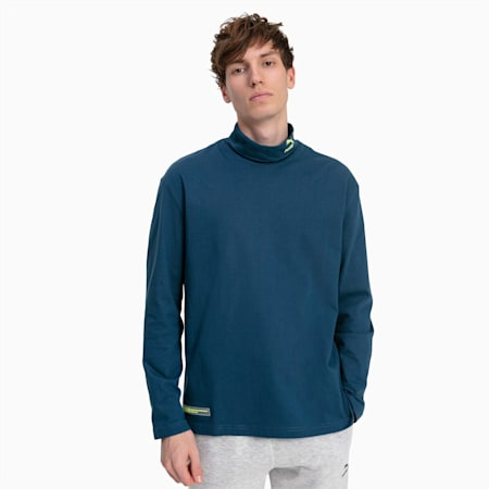 Turtleneck Long Sleeve Men's Tee, Blue Wing Teal, small