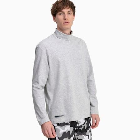 Turtleneck Herren Langarm-Shirt, LIGHT GREY HEATER, small