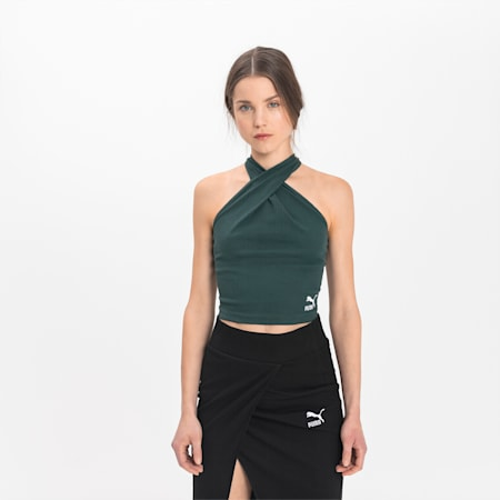 Empower Wrap Halter Neck-top til kvinder, Green Gables, small