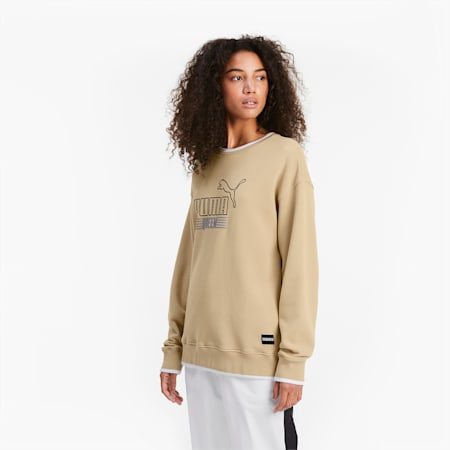 Queen Crew Neck Women's Sweater, Pale Khaki, small