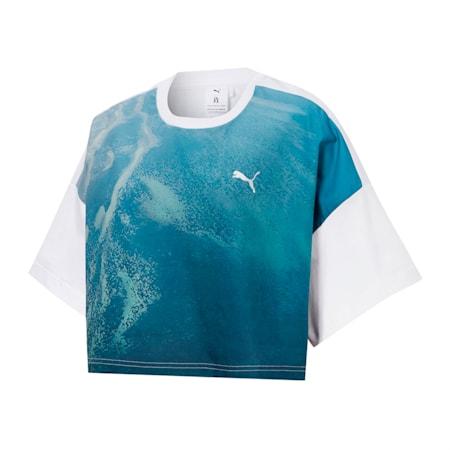 PUMA x LIU WEN Women's Graphic Cropped Tee, Puma White-ocean low, small