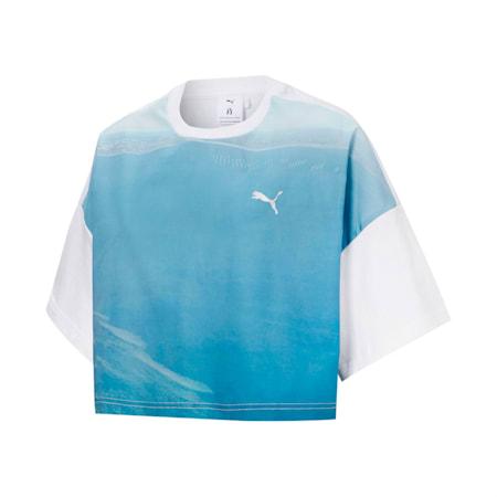 PUMA x LIU WEN Women's Graphic Cropped Tee, Puma White-ocean high, small