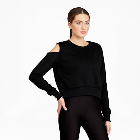 T7 2020 Fashion Women's Crewneck Sweatshirt, Cotton Black, small