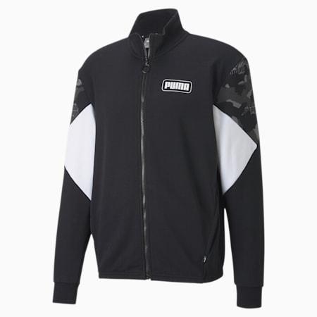 Rebel Camo Full-Zip Men's Jacket, Cotton Black, small-IND