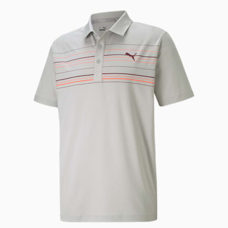 MATTR Hazard Men's Golf Polo Shirt, High Rise Heather-Zinfandel, small-SEA