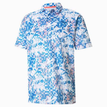 Tech Pique Botanical Men's Golf Polo Shirt, Star Sapphire-Georgia Peach, small