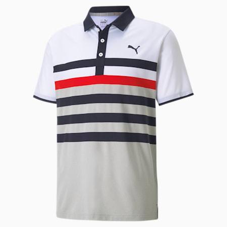 MATTR One Way Men's Golf Polo Shirt, Navy Blazer-High Risk Red, small-SEA