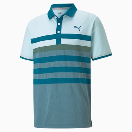MATTR One Way Men's Golf Polo Shirt, Blue Glow-Blue Spruce, small-SEA