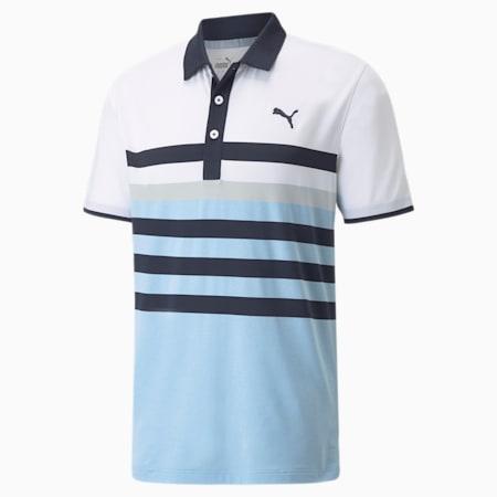 MATTR One Way Men's Golf Polo Shirt, Navy Blazer-Placid Blue, small