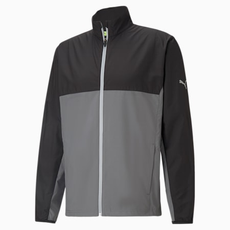 PUMA x FIRST MILE Men's Golf Wind Jacket, Puma Black-Quiet Shade, small-GBR