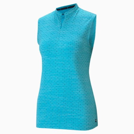 CLOUDSPUN Polka Sleeveless Women's Golf Polo Shirt, Scuba Blue-Navy Blazer, small-GBR