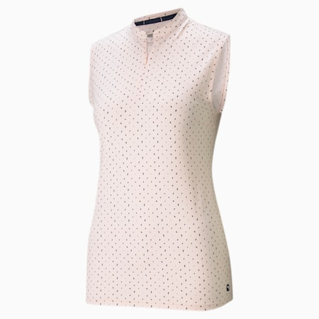 CLOUDSPUN Polka Sleeveless Women's Golf Polo Shirt, Cloud Pink-Navy Blazer, small-GBR