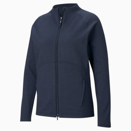 CLOUDSPUN Full-Zip Women's Golf Sweater, Navy Blazer Heather, small