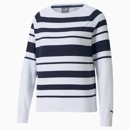 Ribbon Damen Golf-Sweatshirt, Bright White-Navy Blazer, small
