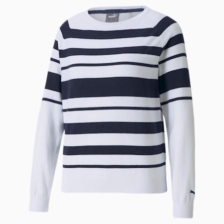 Ribbon Women's Golf Sweater, Bright White-Navy Blazer, small