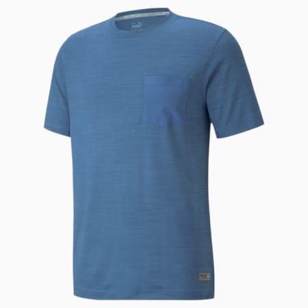 Camiseta de Golf EGW CLOUDSPUN Pushcart Pocket para hombre, Federal Blue Heather, pequeño