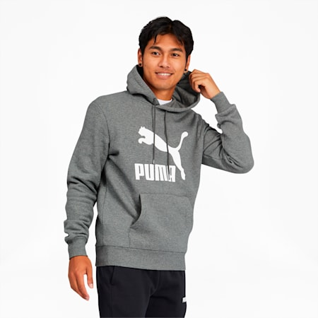 Classics Men's Logo Hoodie, Medium Gray Heather, small
